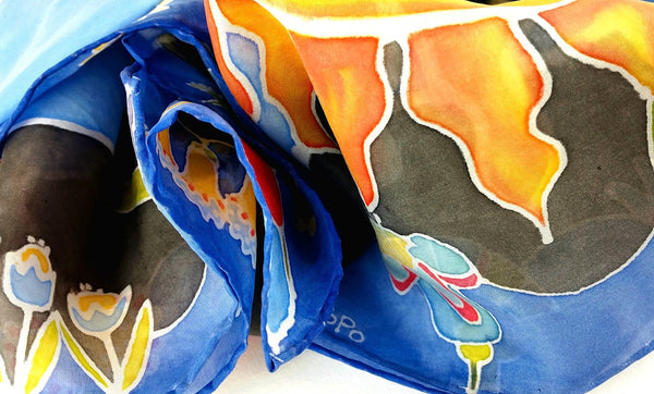Hand-painted Silk Scarf - Under the Sun
