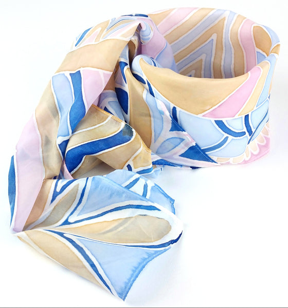 Hand-painted Silk Scarf - Winter Pastels