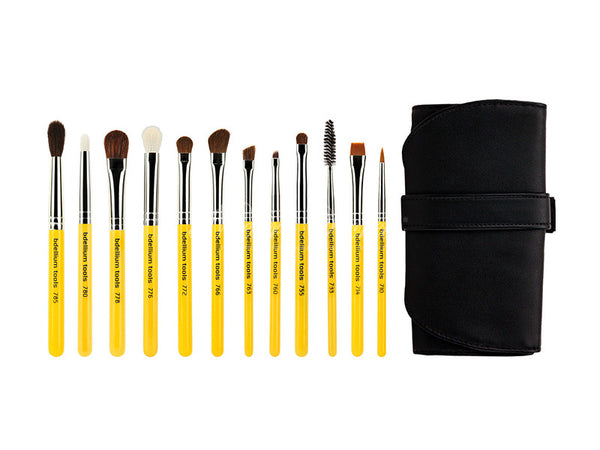 Bdellium Tools -Travel Eyes 12pc. Brush Set with Roll-up Pouch