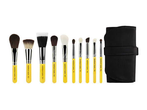 Bdellium Tools -Travel Mineral 10pc. Brush Set with Roll-up Pouch