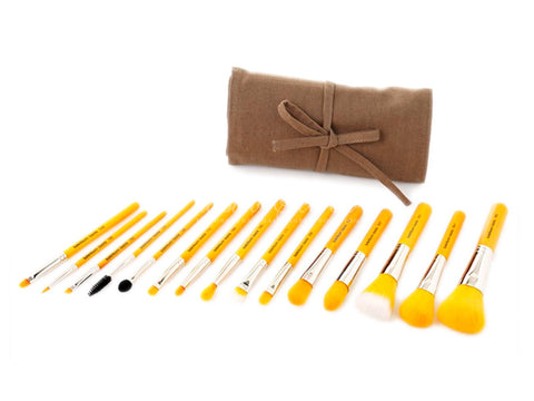 Bdellium Tools -Yellow Bambu Complete 15pc. Brush Set with Roll-up Pouch