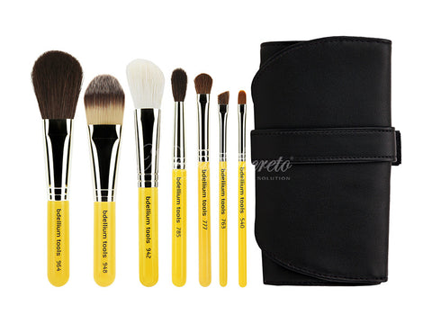 Bdellium Tools -Travel Basic 7pc. Brush Set with Roll-up Pouch