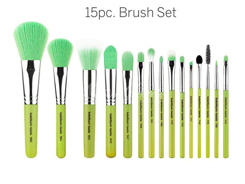 Bdellium Tools -Green Bambu Complete 15pc. Brush Set with Roll-up Pouch