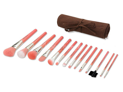 Bdellium Tools -Pink Bambu Complete 14pc. Brush Set with Roll-up Pouch