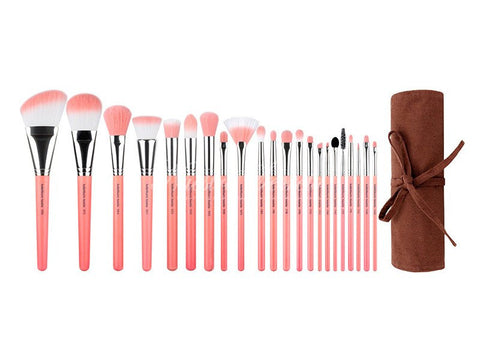 Bdellium Tools -Pink Bambu Deluxe 22pc. Brush Set with Roll-up Pouch