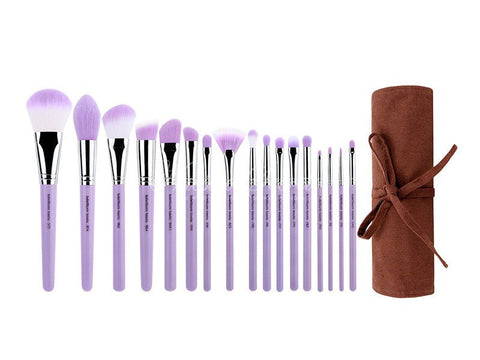 Bdellium Tools -Purple Bambu Precision 17pc. Brush Set with Roll-up Pouch