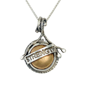 "Sterling Silver ""Strength"" and Bronze Necklace ""Words Of Wisdom Totem Collection"" - DawnMiddleton.com"