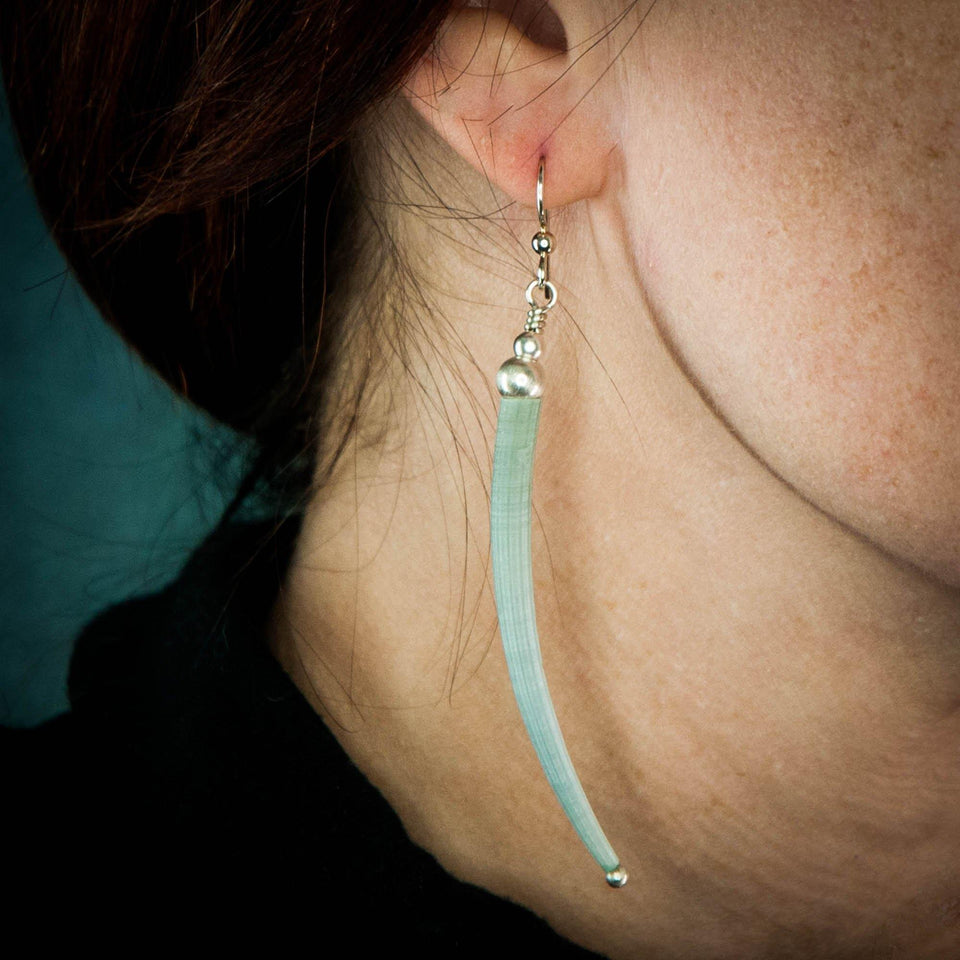 Green Tusk Shell and Sterling Silver Earrings Side view