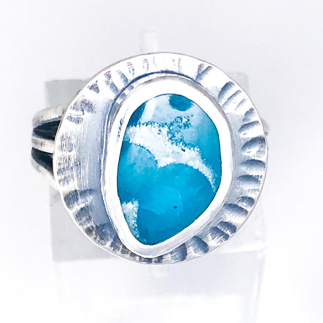 Sterling Silver Ring With Hemimorphite Size 6