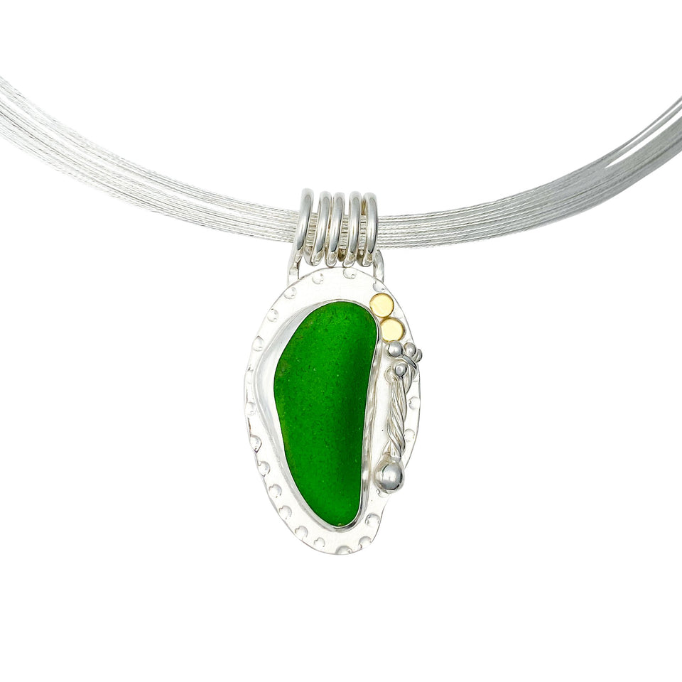 Green Sea Goddess / Glass Sterling Silver Statement Necklace - DawnMiddleton.com