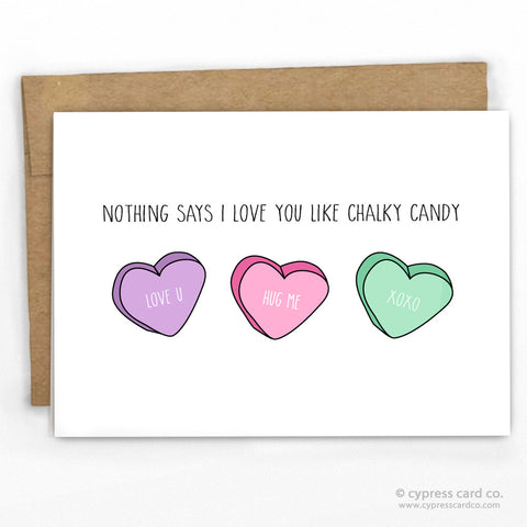 Funny Chalky Candy Valentines Day Card