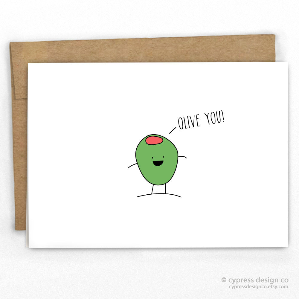 Olive You Pun Love Card