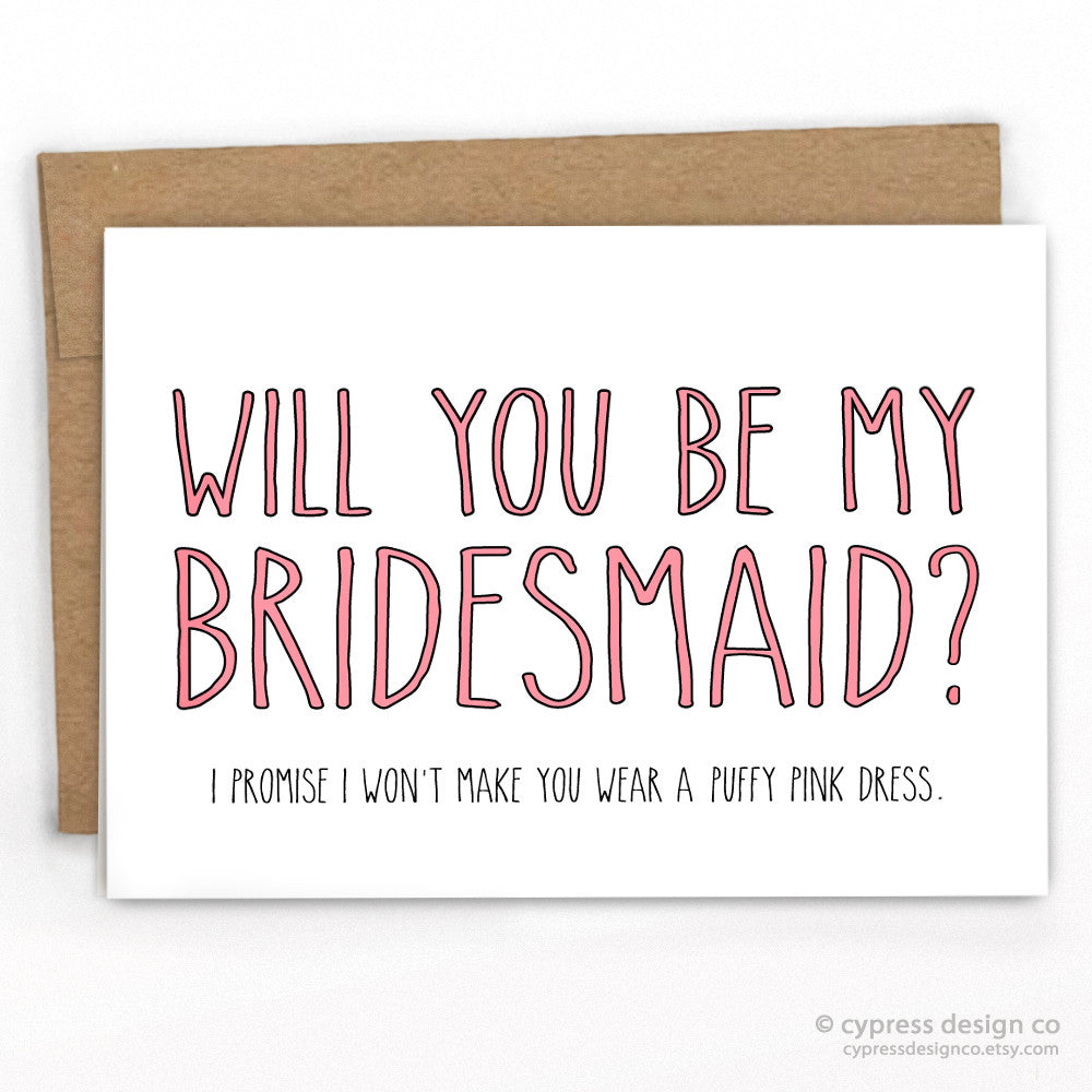Bridesmaid Fluffy Pink Dress Wedding Card
