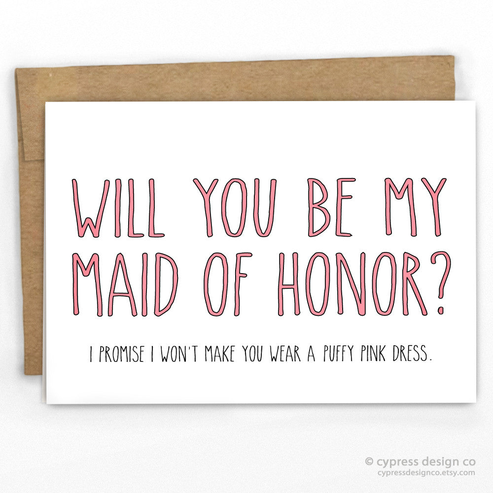 Maid of Honor Fluffy Pink Dress Funny Wedding Card Cypress Card Co