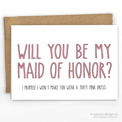 Maid of Honor Fluffy Pink Dress! Funny Wedding Card