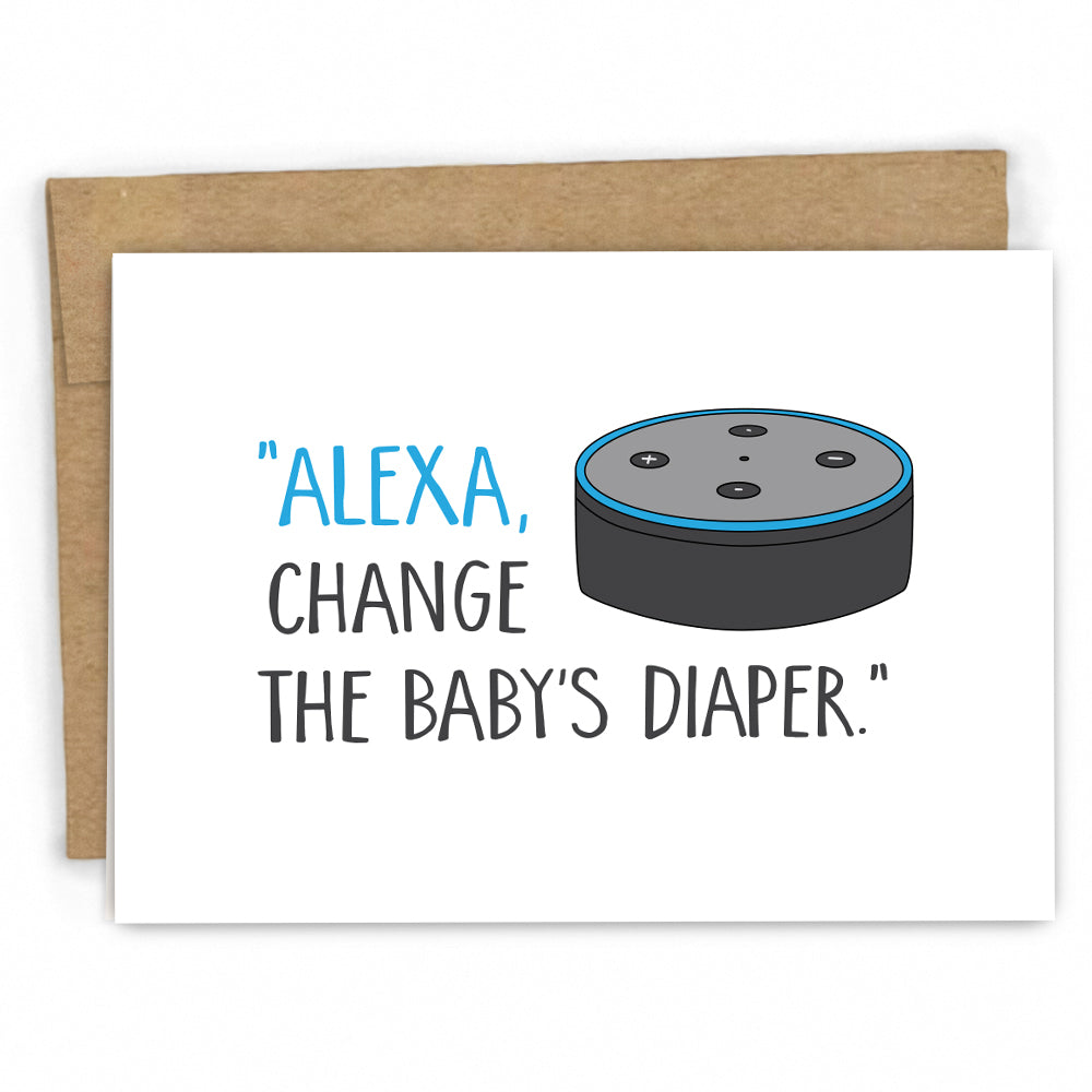 Funny New Baby Card | Baby Congratulations Card | Alexa and Baby