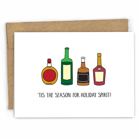 Funny Christmas Card | Holiday Spirti and Drinking by FRESH! | Retail + Wholesale Greeting Cards
