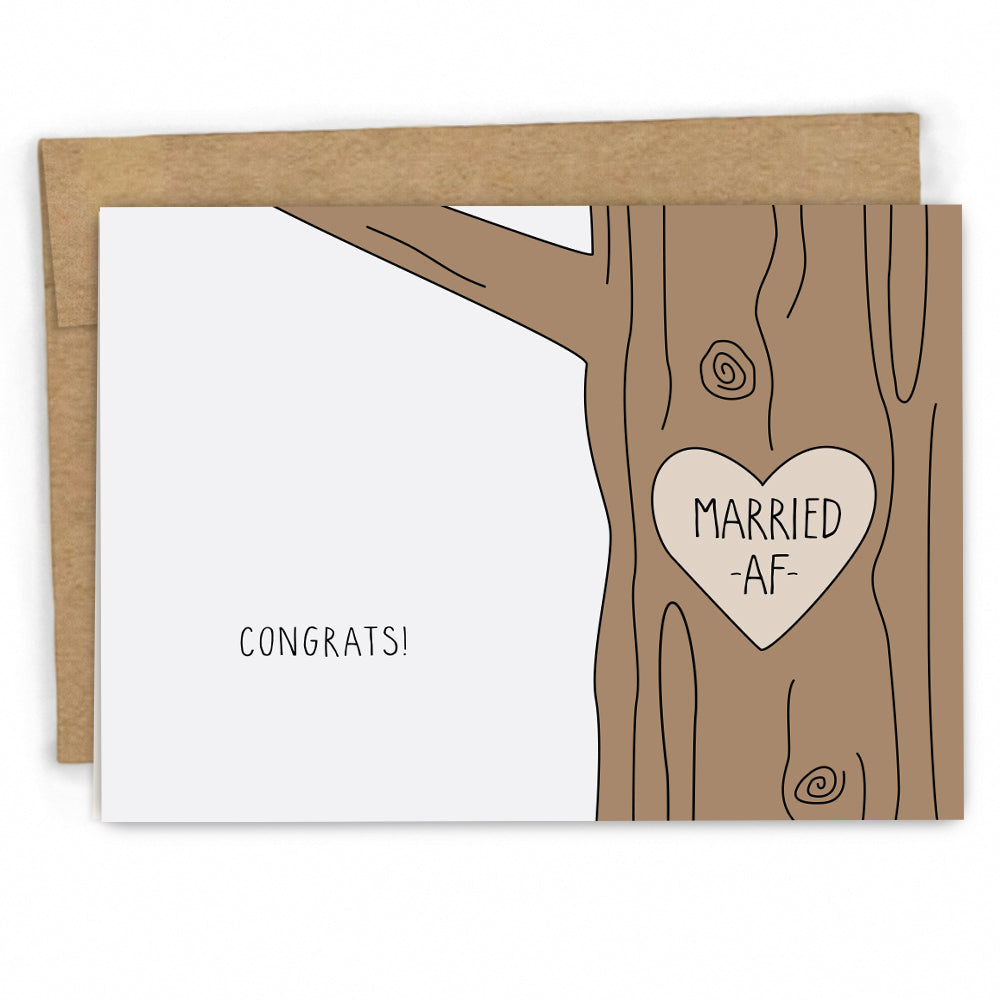 Funny Married AF Wedding Congrats Card