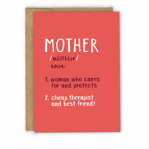 Cute Mother's Day Card | Card for Mom | Mother Definition