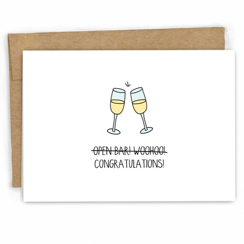 Funny Wedding Congratulations Card | Open Bar by FRESH! at freshcardco.com | Wholesale Greeting Cards