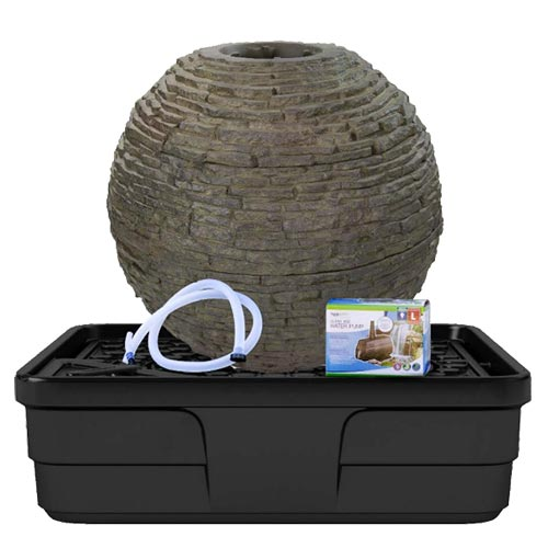Aquascape Medium Stacked Slate Sphere Landscape Fountain Kit