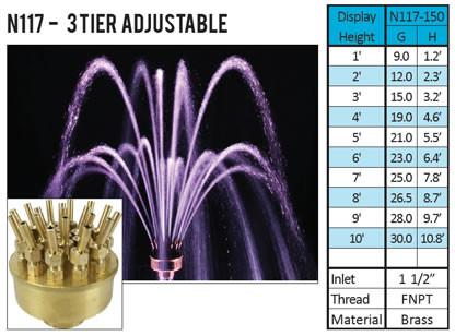 ProEco Vulcan 3 Tier Adjustable Fountain Nozzle