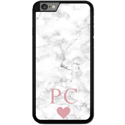 Fits Apple iPhone 8 PLUS - PERSONALISED Initial White Marble Case Phone Cover Y01503