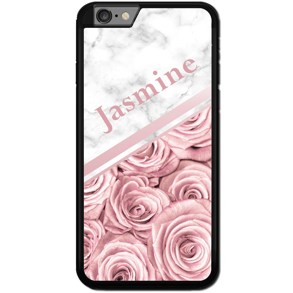 Fits Apple iPhone 7 - PERSONALISED Rose Marble Name Case Phone Cover Y01511