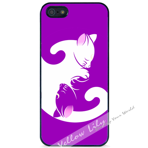 For Apple iPhone 5 5G 5S - Yin Yang Kitten Case Phone Cover Y01486