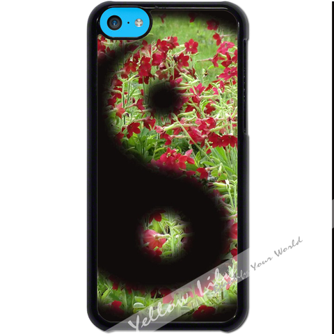 For Apple iPhone 5C - Yin Yang Flowers Case Phone Cover Y01484