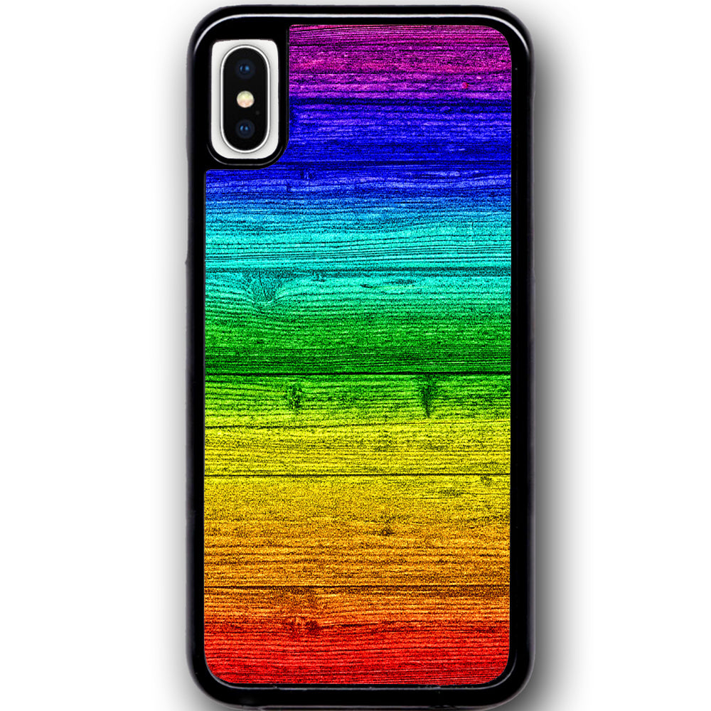 Fits Apple iPhone X - Rainbow Wood Case Phone Cover Y01392