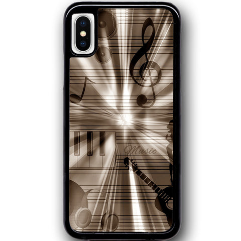 Fits Apple iPhone X - Retro Music Silver Case Phone Cover Y01404