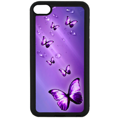 For Apple iPod Touch 6 - Purple Butterflies Case Phone Cover Y01084