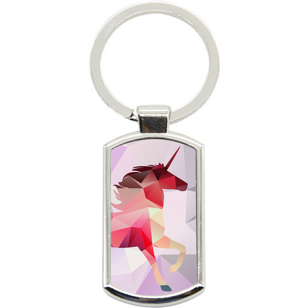 KeyRing Stainless Steel Key Chain Ring - Unicorn Abstract Y00006