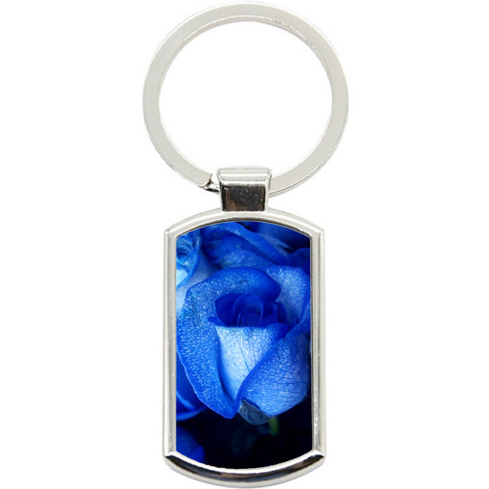 KeyRing Stainless Steel Key Chain Ring - Blue Roses Y00014