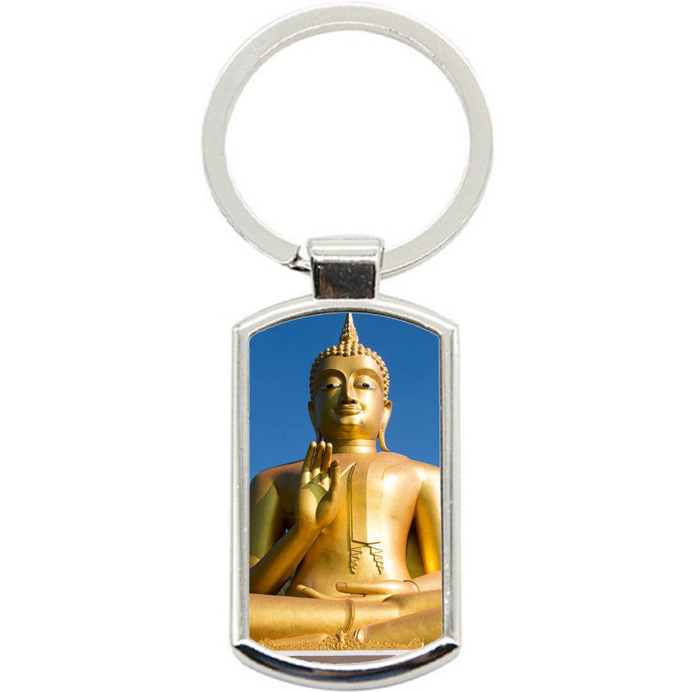 KeyRing Stainless Steel Key Chain Ring - Buddha Gold Y00021