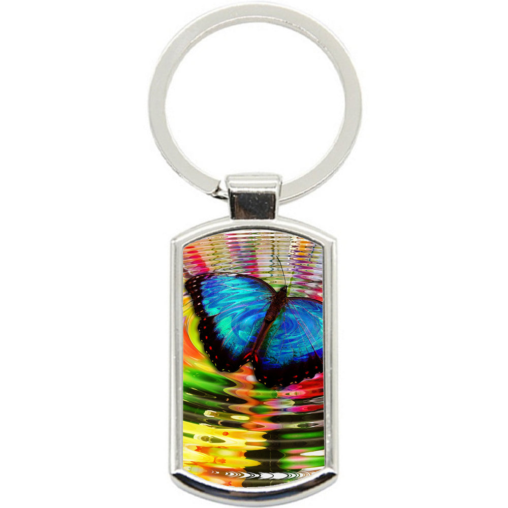KeyRing Stainless Steel Key Chain Ring - Rainbow Butterfly Y00036