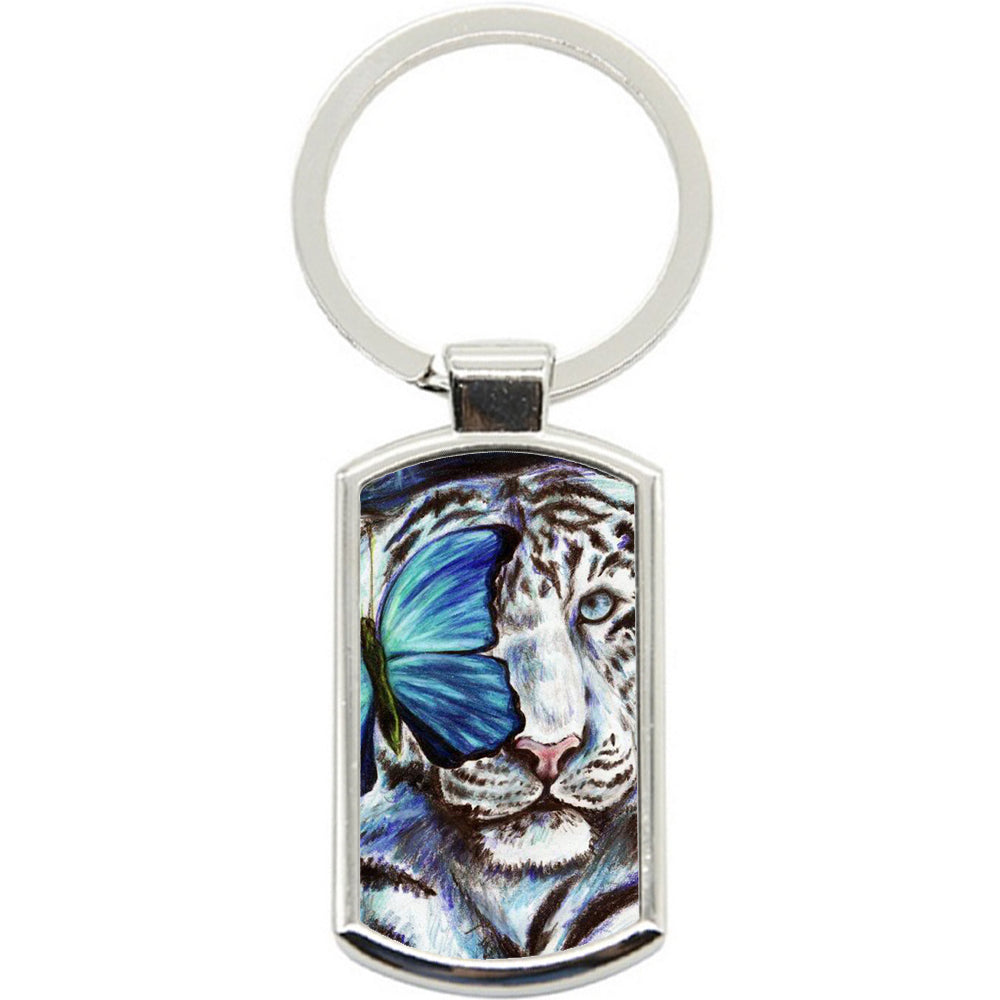KeyRing Stainless Steel Key Chain Ring - Tiger White Fly Y00041