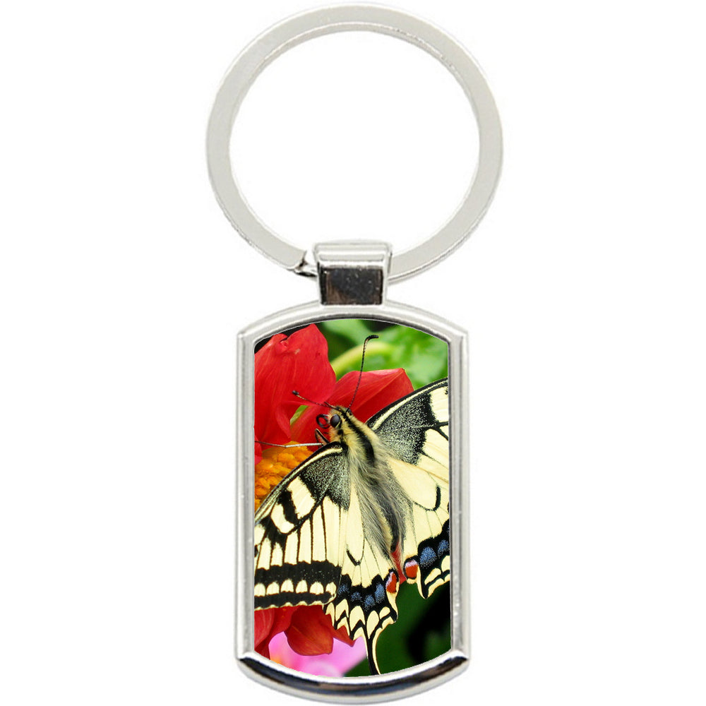 KeyRing Stainless Steel Key Chain Ring - Yellow Butterfly Y00042