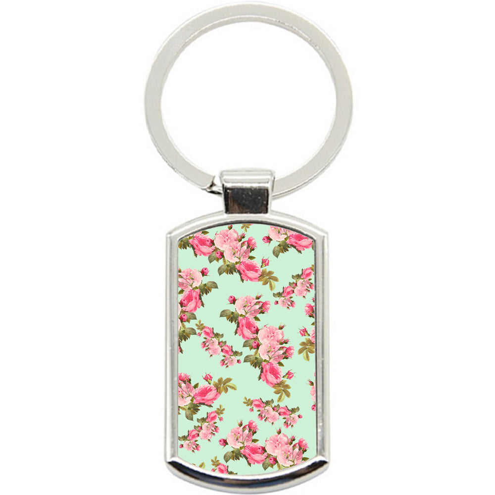 KeyRing Stainless Steel Key Chain Ring - Vintage Floral Y00053