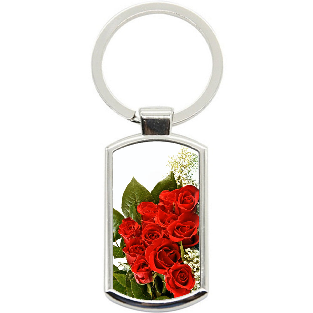 KeyRing Stainless Steel Key Chain Ring - Rose Bunch Y00088