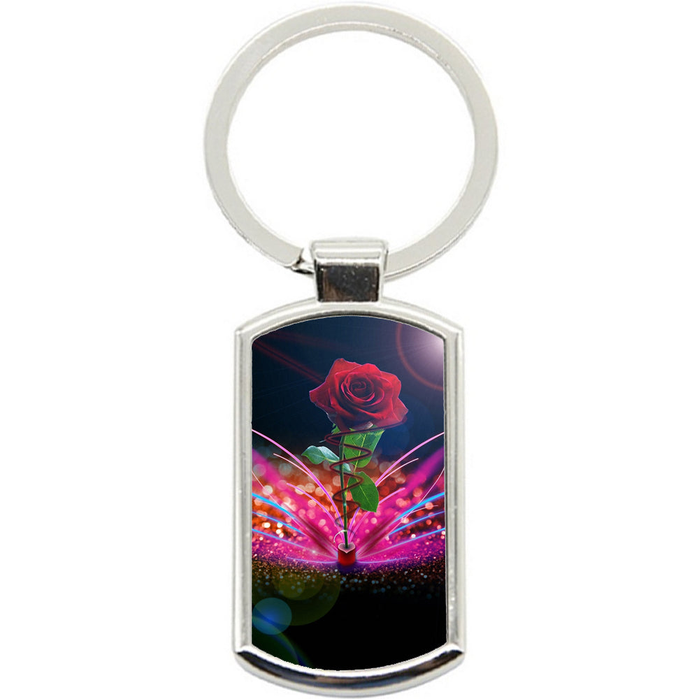 KeyRing Stainless Steel Key Chain Ring - Rose Creation Y00091