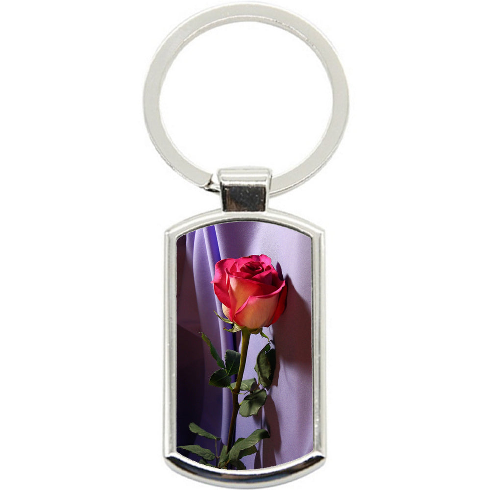 KeyRing Stainless Steel Key Chain Ring - Rose Love Pink Y00095