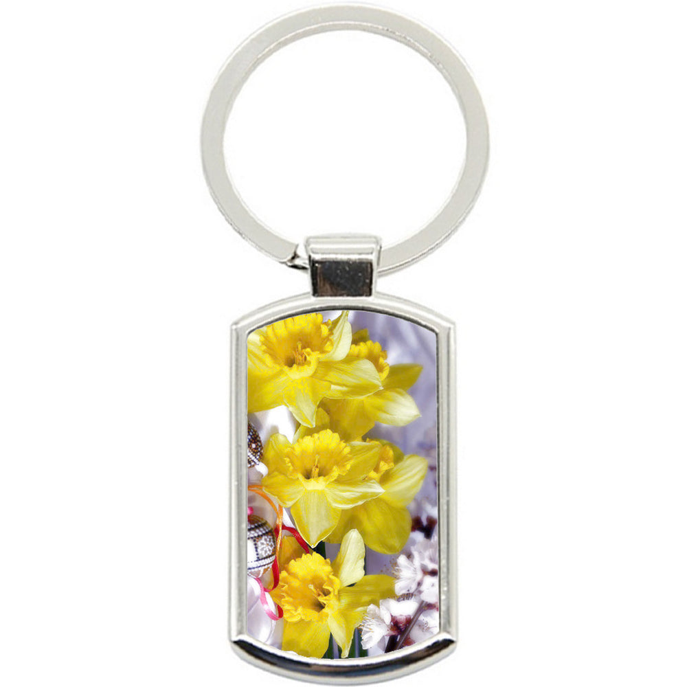 KeyRing Stainless Steel Key Chain Ring - Yellow Daffodil Y00104