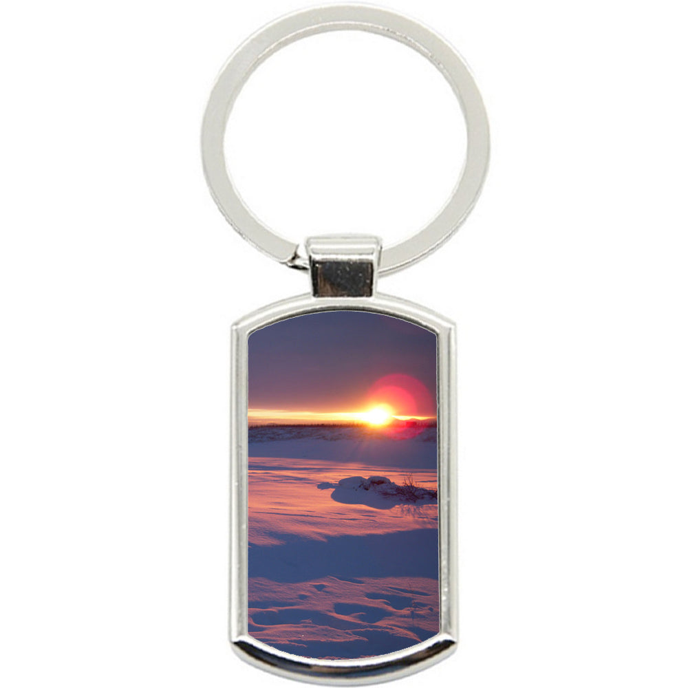 KeyRing Stainless Steel Key Chain Ring - Snow Sunset Y00109