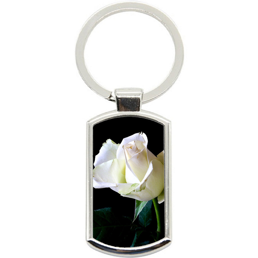 KeyRing Stainless Steel Key Chain Ring - Tender White Rose Y00129
