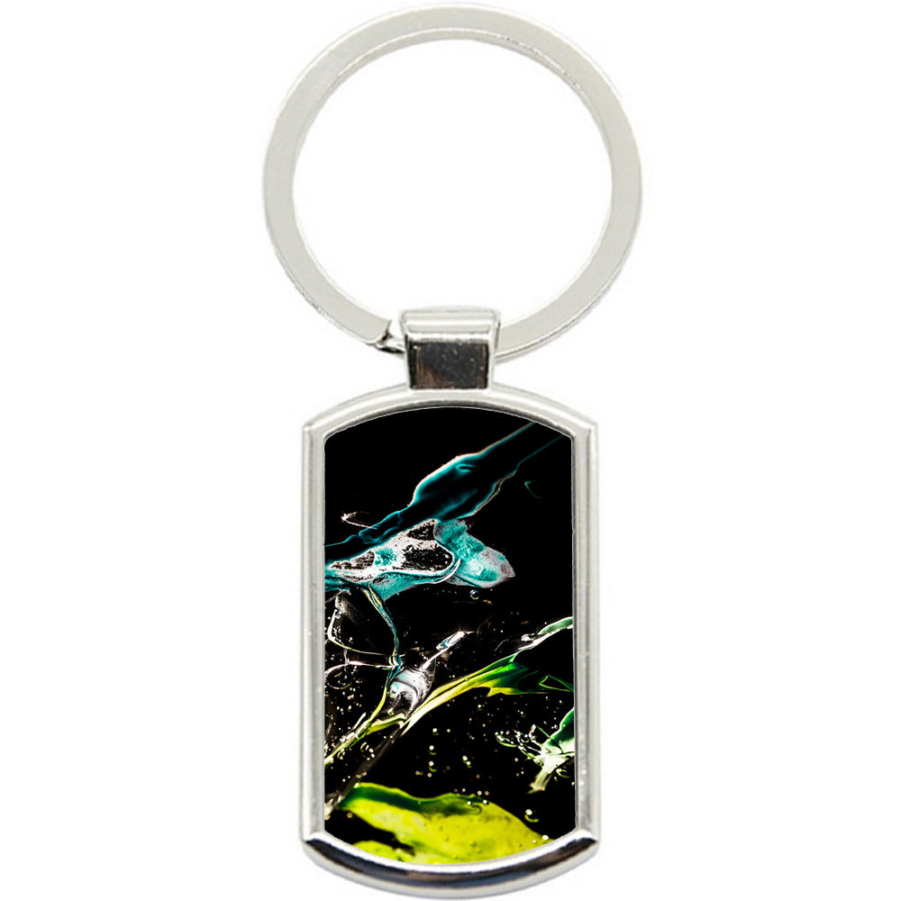 KeyRing Stainless Steel Key Chain Ring - Art Water Drops Y00142