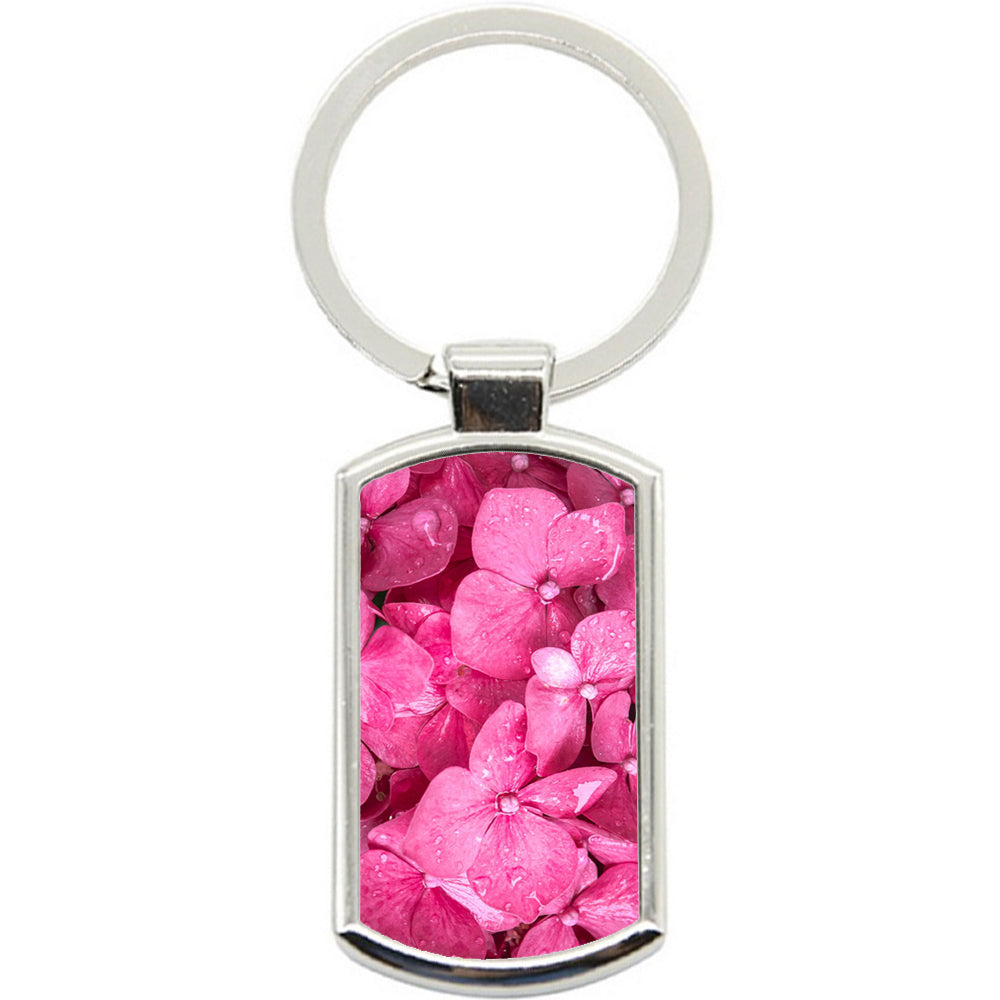 KeyRing Stainless Steel Key Chain Ring - Pink Flower Bunch Y00144