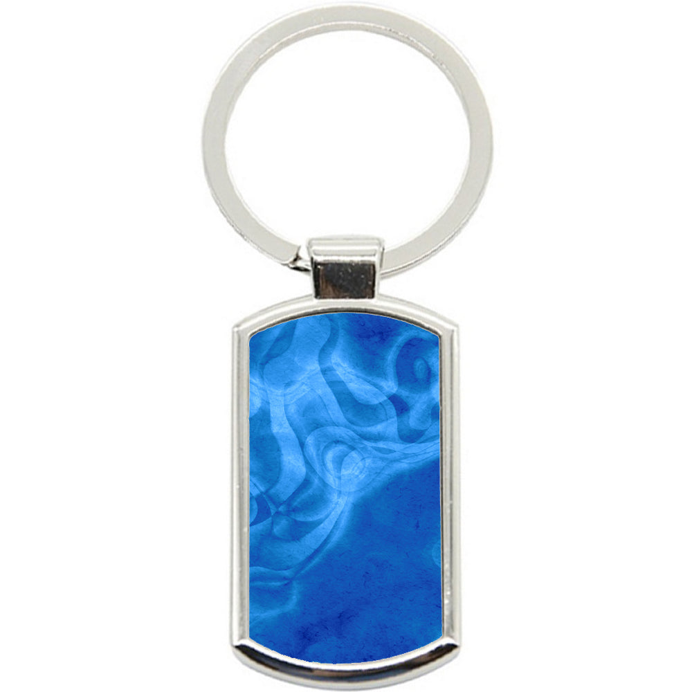 KeyRing Stainless Steel Key Chain Ring - Blue Swirls Y00148