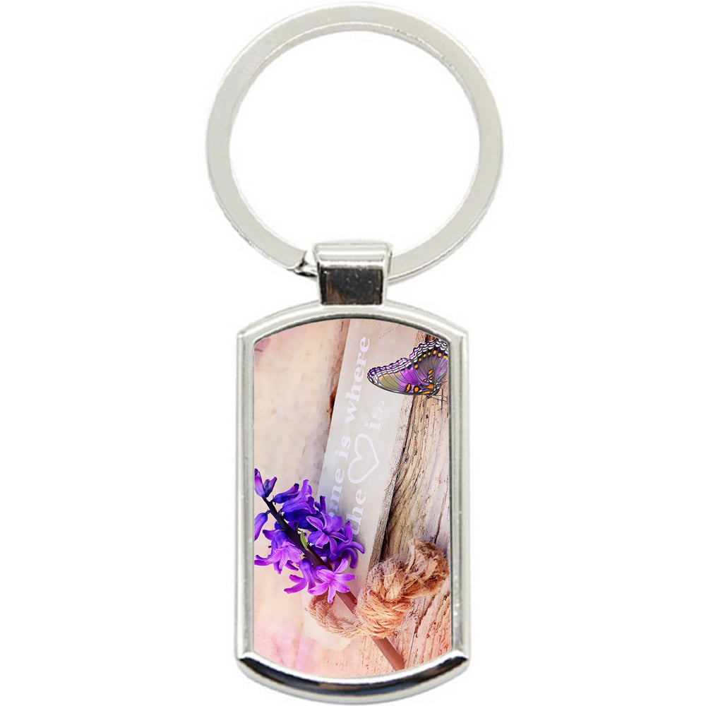 KeyRing Stainless Steel Key Chain Ring - Purple Love Flower Y00176